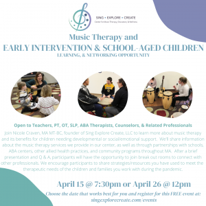 Music Therapy and Early Intervention and School-Aged Children Networking Event